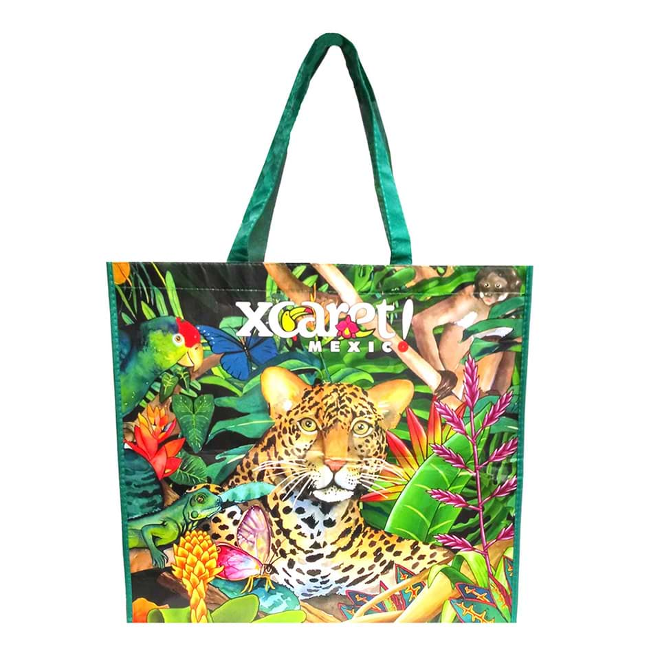 reusable fabric shopping bag printed in full color