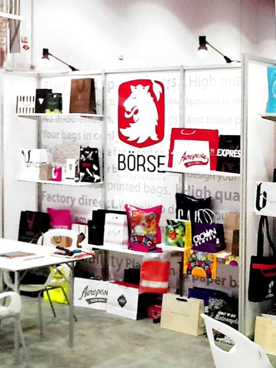 Exhibition area for shopping bags at the  Magic Las Vegas Expo